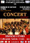 Affiche du concert du 6 Février 2011. C'est dans le cadre des festivités consacrant la 400 éme année du Lycée Guy-Chauvet , et à l'invitation de l'Atelier Cordes de ce dernier, que l'Orchestre Symphonique de l'Université de Poitiers (direction Augustin Maillard), et l'Orchestre de l'Ecole de Cordes du Loudunais  (direction Nicolas Verdon) se sont produit à la Collégiale Sainte-Croix de Loudun, le Dimanche 6 Février à 16 H. Lieu où se tient l'exposition photos ''Les images de l'Histoire''. A cette occasion, quatre jeunes solistes se sont joint à  l'Orchestre de l'Université de Poitiers. Tao Xie : dans le premier mouvement du cinquième concerto  pour piano de Ludwig  van Beethoven. Jacques Loiseau : dans le premier mouvement du deuxième concerto pour Violoncelle de Anton Dvorak. Magali Ellul : dans le premier mouvement du deuxième concerto  pour piano de Sergueï Rachmaninoff. Jean-François Bersot : (premier violon de l'OUP), dans la Danse Macabre de Camille Saint-Saëns. Pour ce concert, les élèves de l'Atelier Cordes du Lycée Guy-Chauvet sont venu renforcer l'efectif de  l'Orchestre de l'Ecole de Cordes du Loudunais.